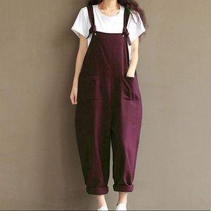 Claret Red Linen cotton overalls wear  flannel top